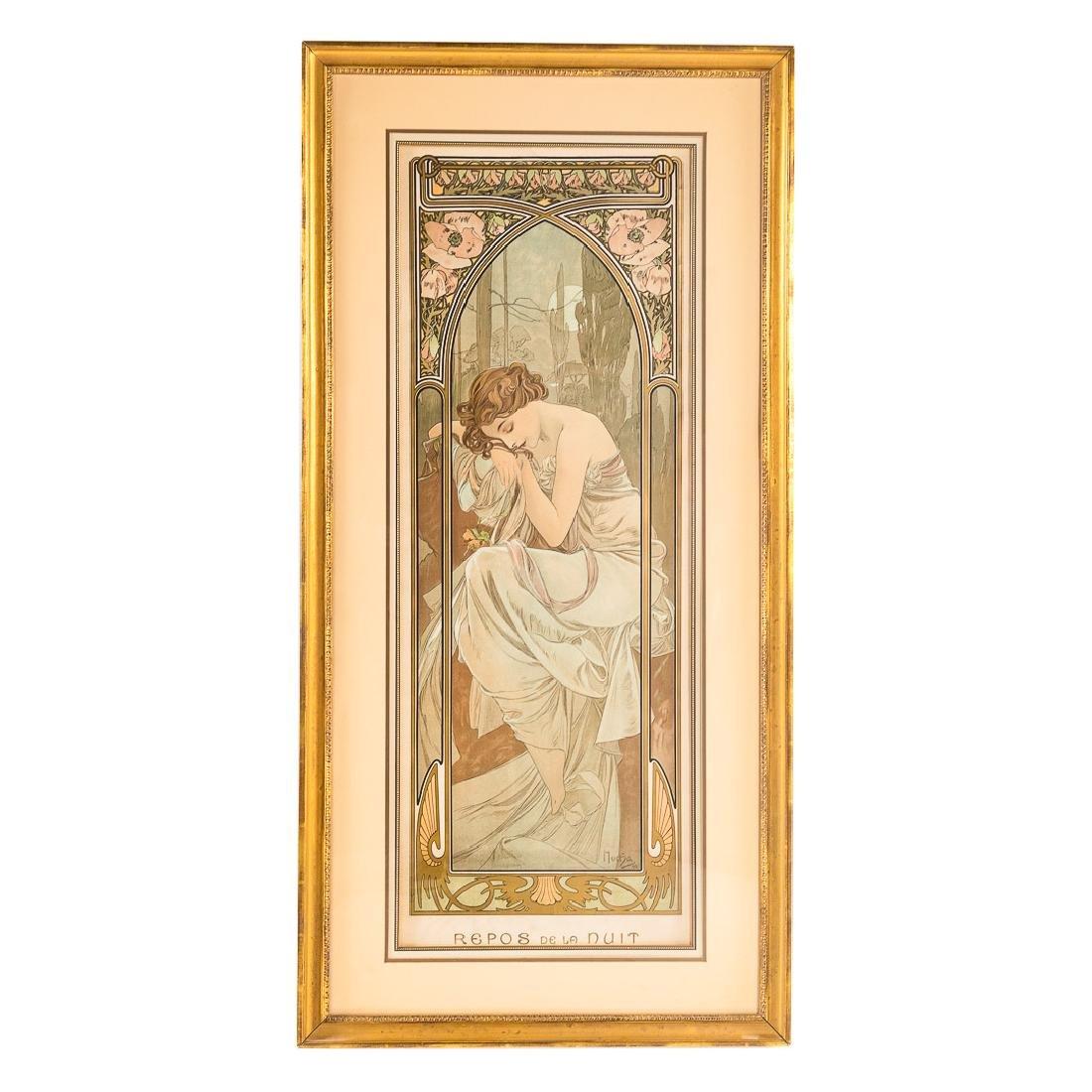 """Alphonse Mucha. """"Repos de la Nuit,"""" lithograph"""