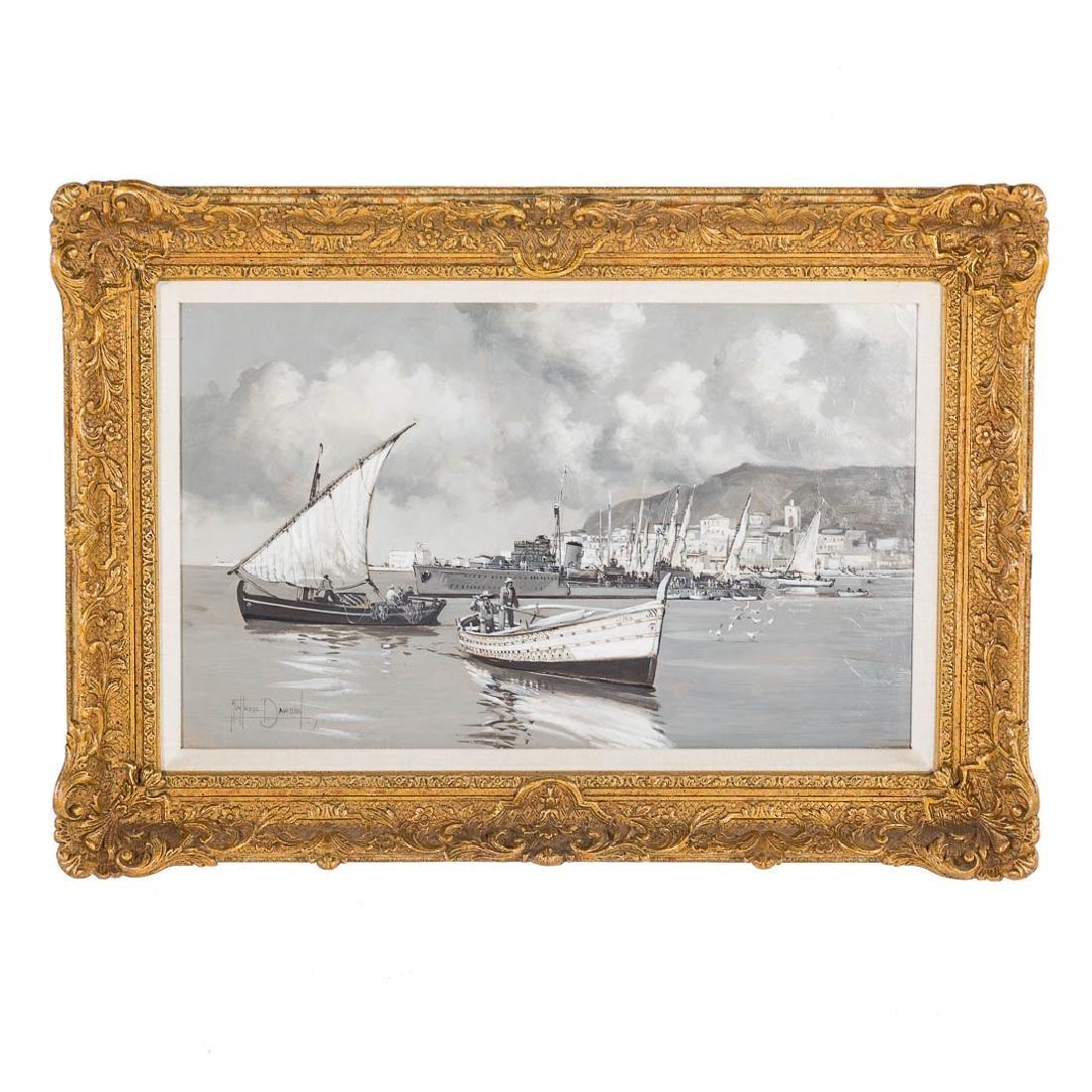 Montague Dawson. British Destroyer-Valetta Harbor