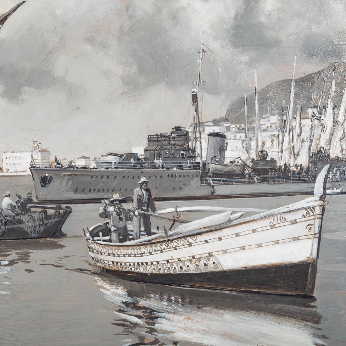 Montague Dawson. British Destroyer-Valetta Harbor - 2
