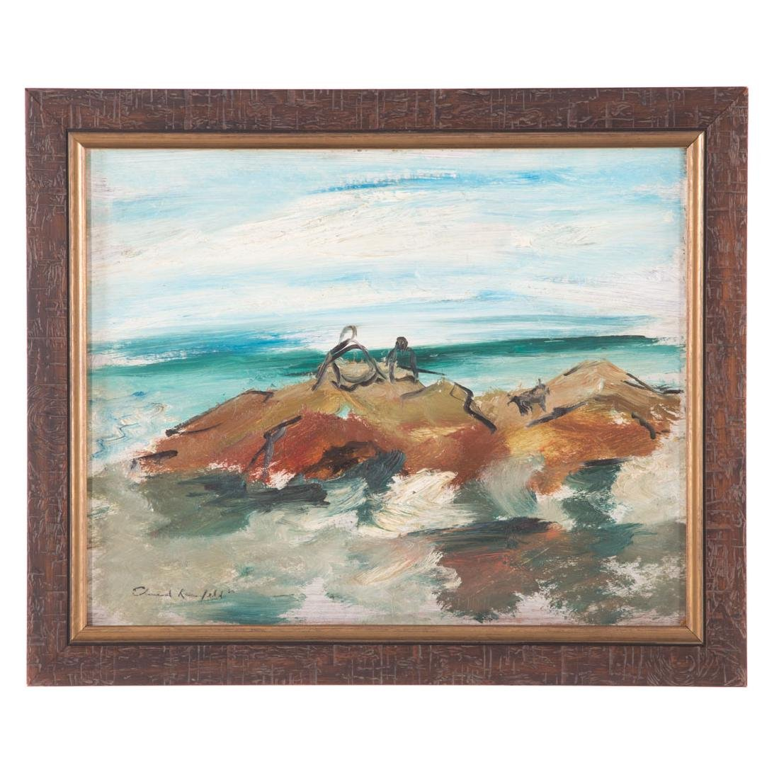 Edward Rosenfeld. Figures on Rocky Coast, oil