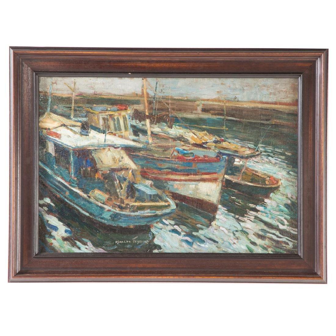 Oswaldo Tiexeira. Moored Fishing Boats, oil
