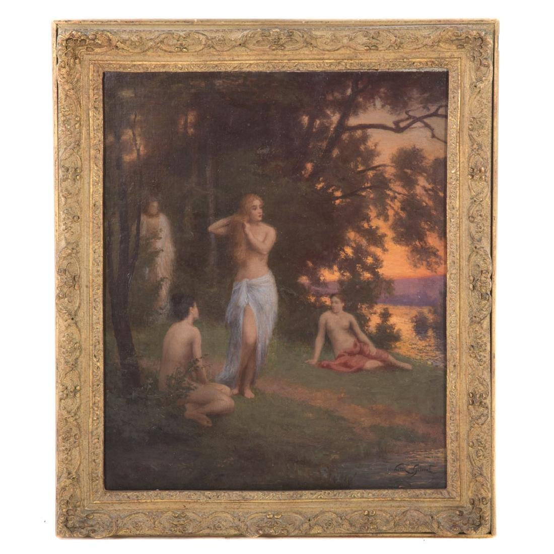 Victor Gilbert. Bathers by the Lake, oil on canvas