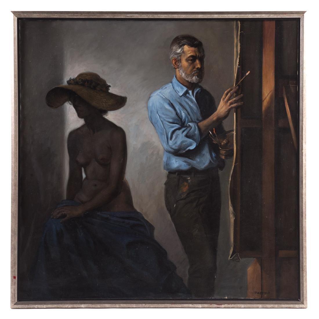 Joseph Sheppard. Self Portrait with Nude, oil
