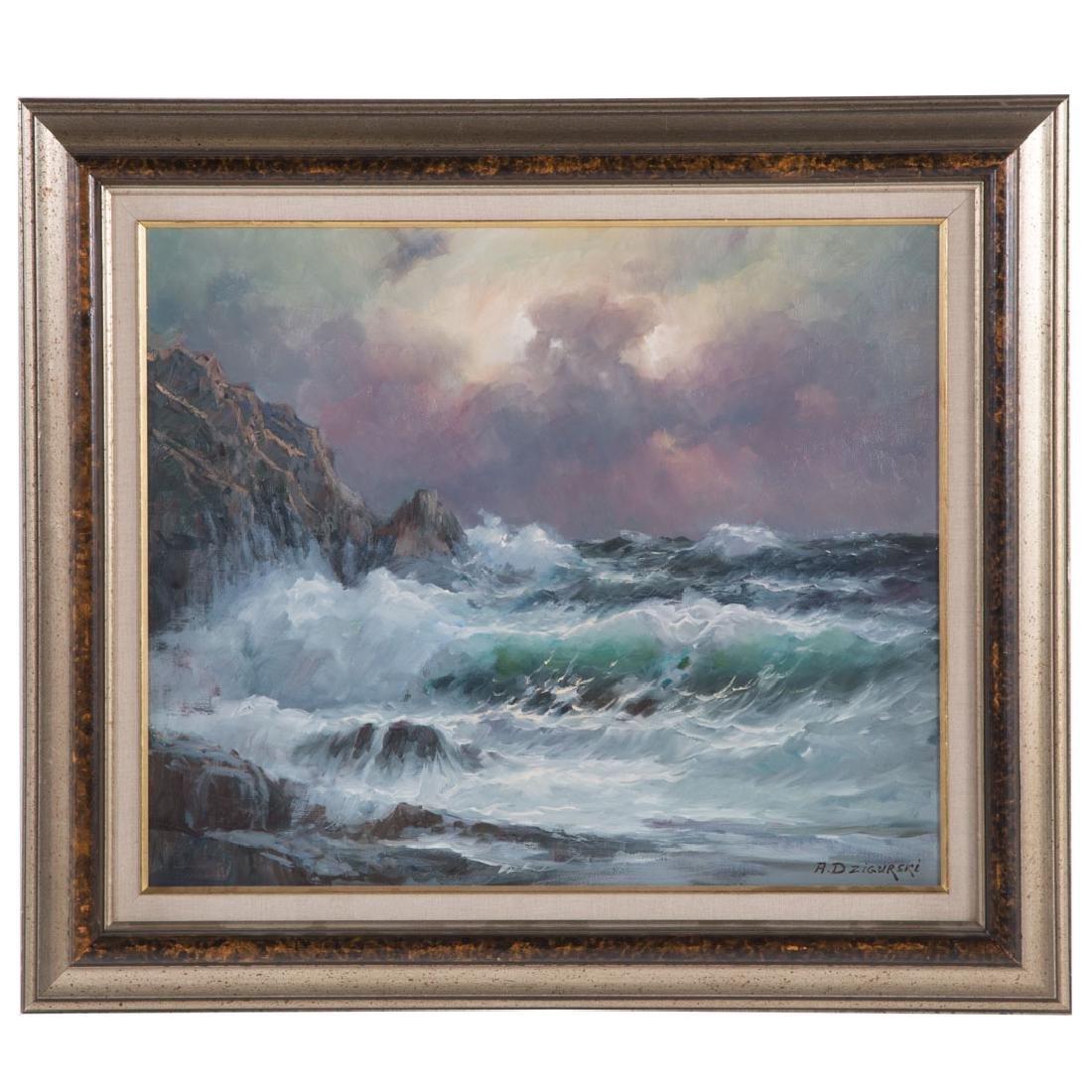 Alexander Dzigurski. Coastal Seascape, oil