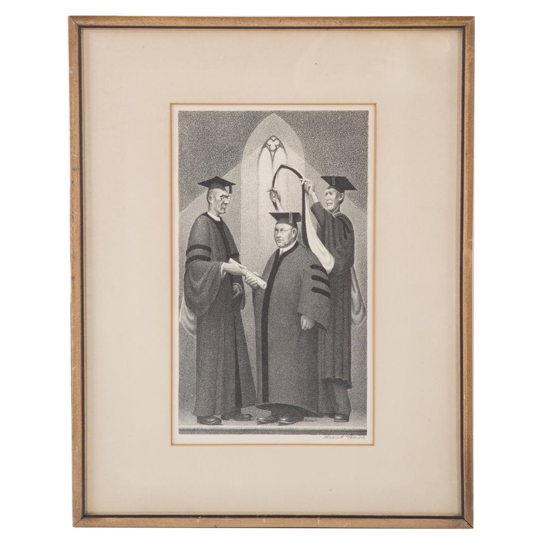 "Grant Wood. ""Honorary Degree,"" lithograph"