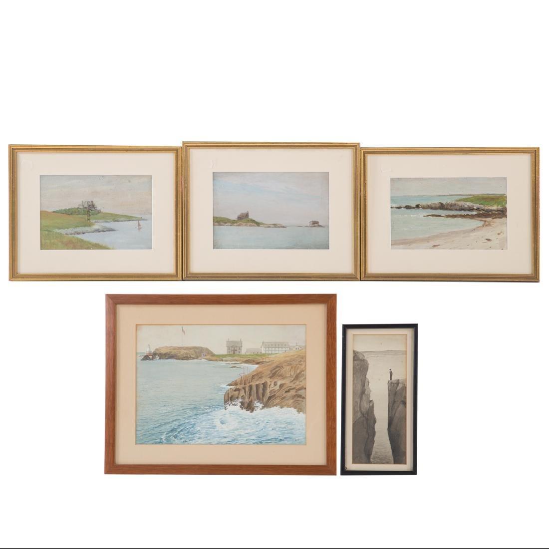 Oliver Perry. Five framed Newport, R.I. artworks