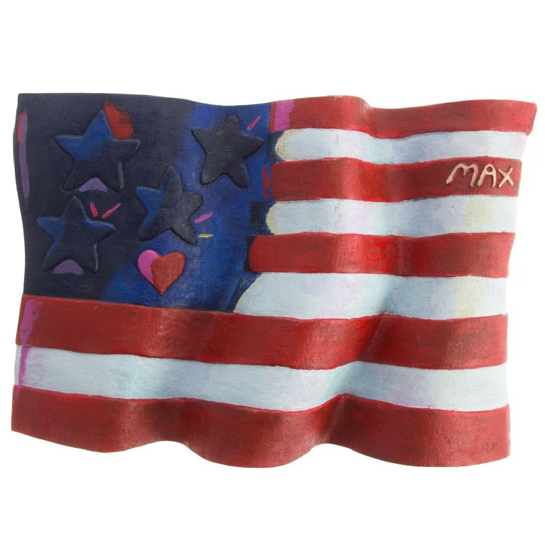 "Peter Max. ""American Flag"", bronze"