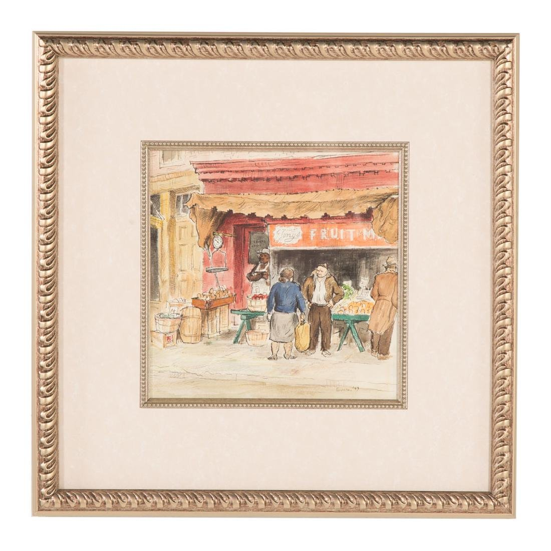 Jacob Glushakow. Market Scene, watercolor