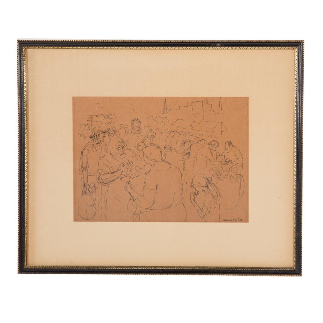 """Aaron Sopher. """"Market Scene,"""" drawing"""