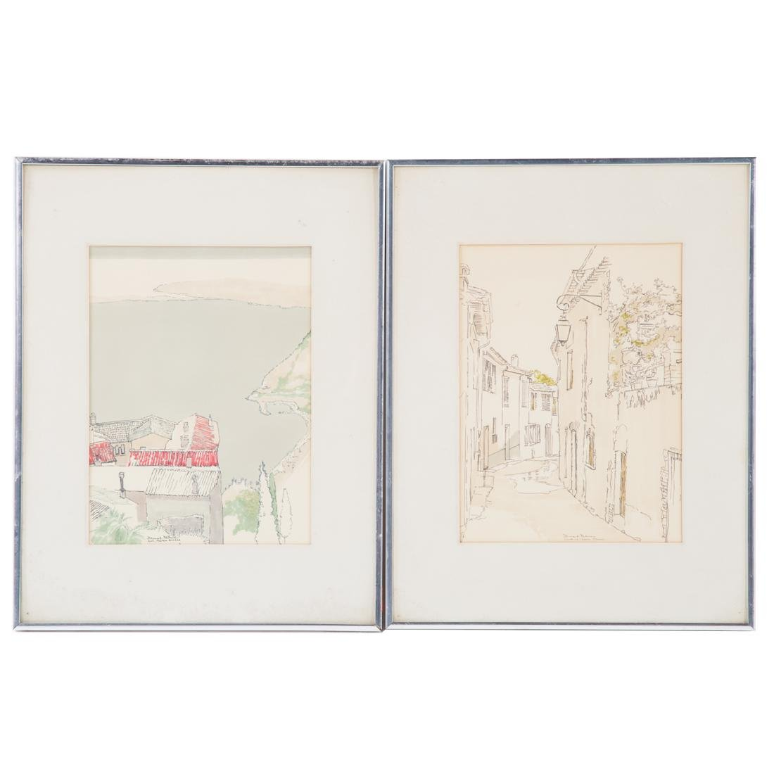 Bennard Perlman. Two framed watercolors of France