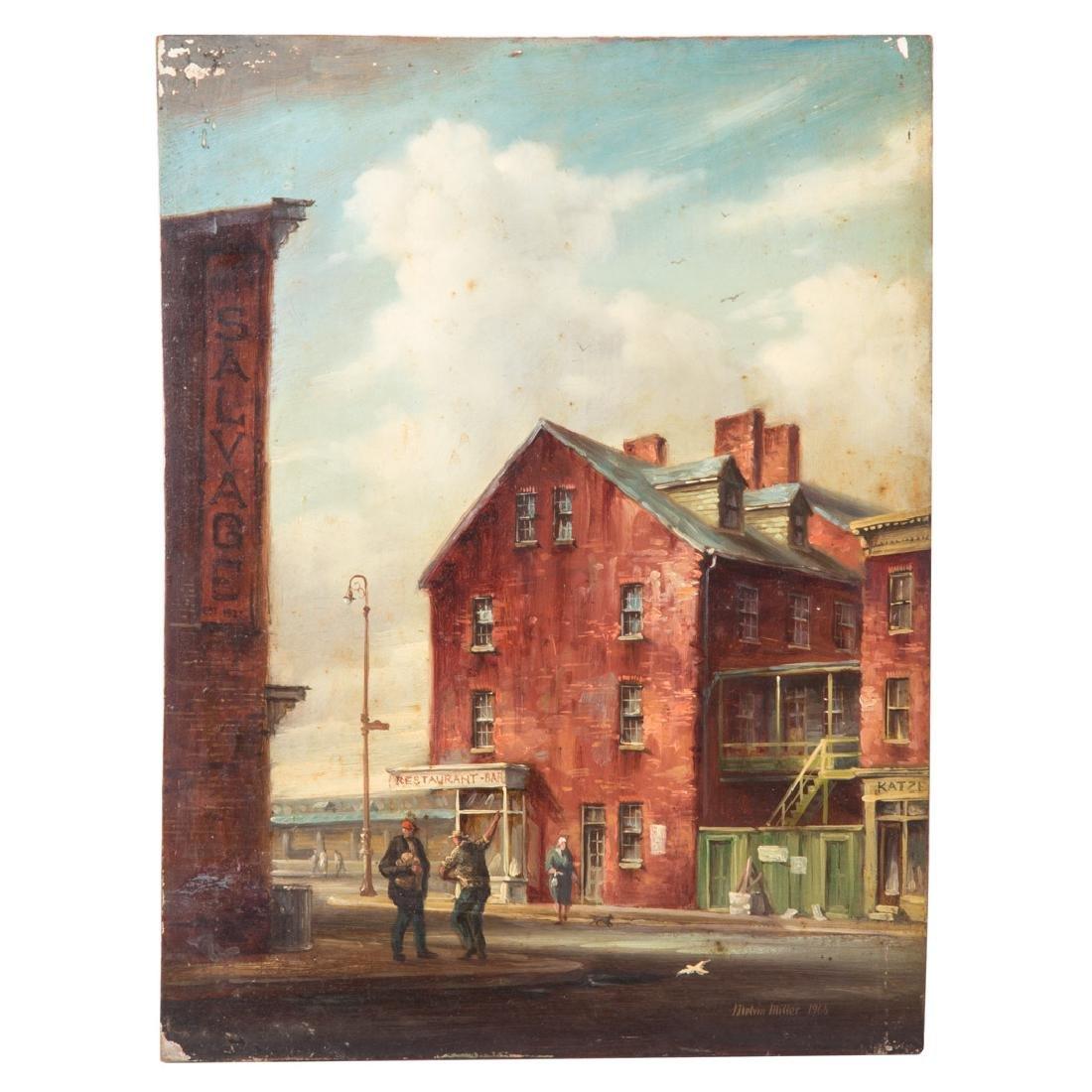 Melvin Miller. Baltimore Street Scene, oil