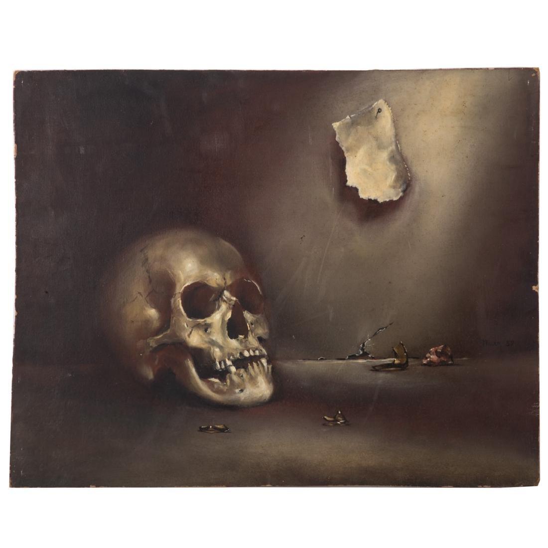 Melvin Miller. Skull Study, oil on masonite