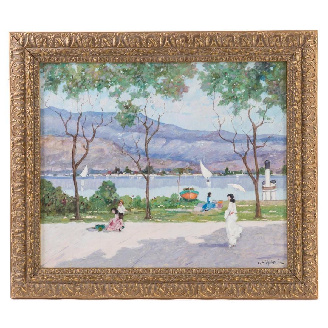 Luigi Cagliani. River Landscape with Figures, oil