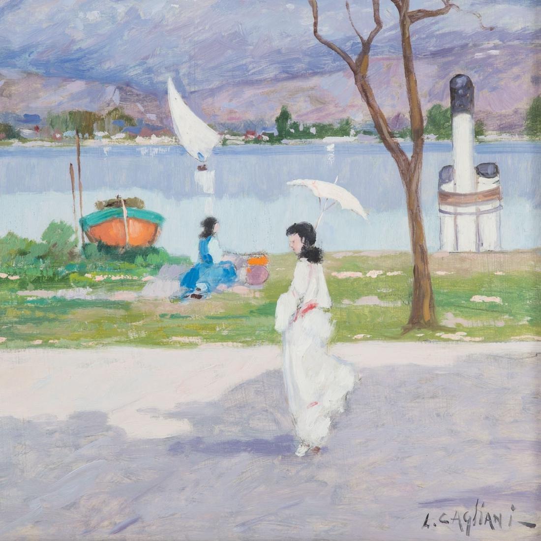 Luigi Cagliani. River Landscape with Figures, oil - 2
