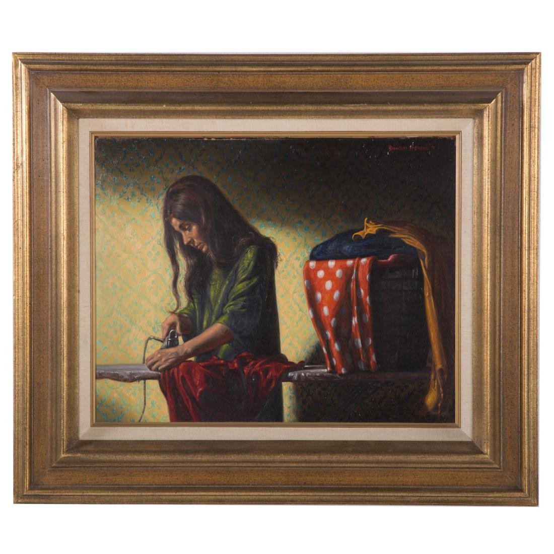 Douglas Hofmann. Woman Ironing, oil on board