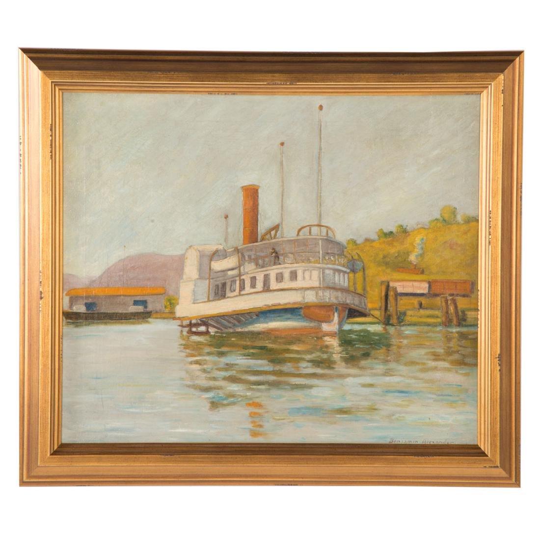 "Benjamin Alexander. ""Steamboat,"" oil on canvas"