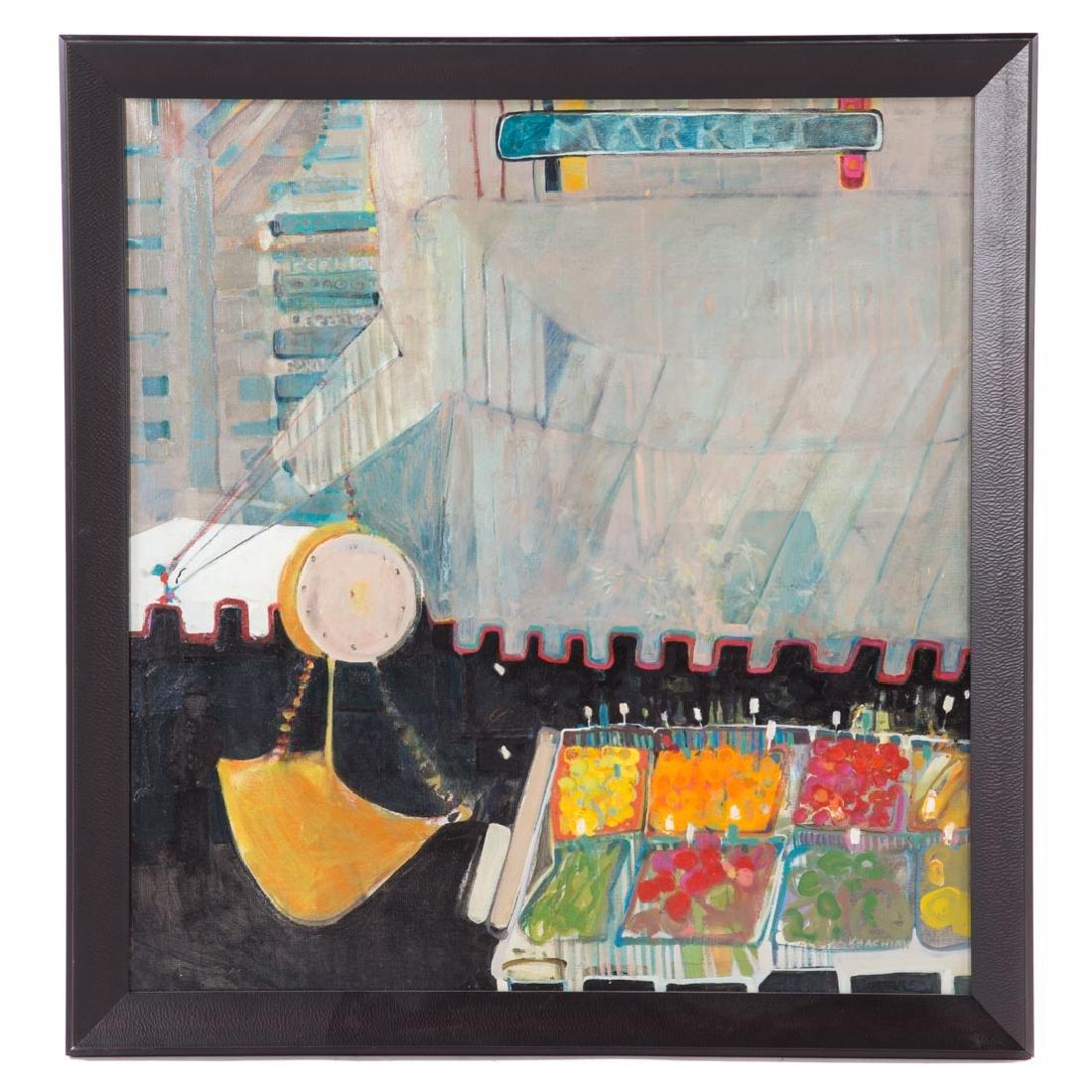 "Elisa Khachian. ""Market,"" oil on canvas"