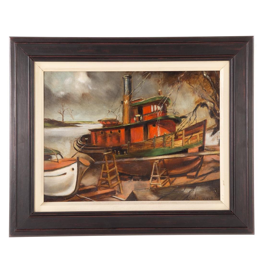 George Didusch. Tugboat in Drydock, oil