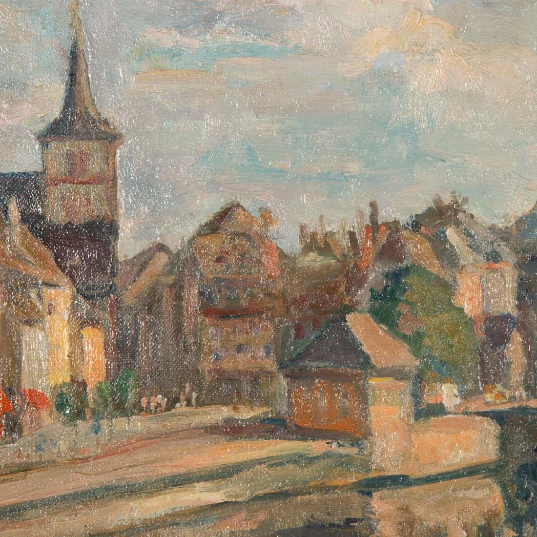 Karl Roth Coraux. View of a French Village, oil - 2
