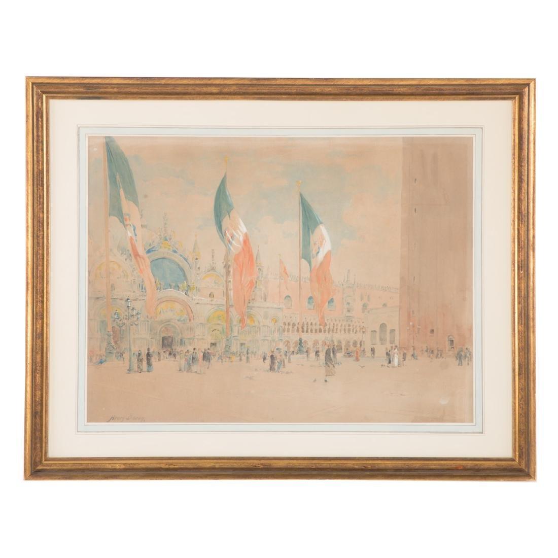 Henry Bacon. Piazza San Marco, Venice, watercolor