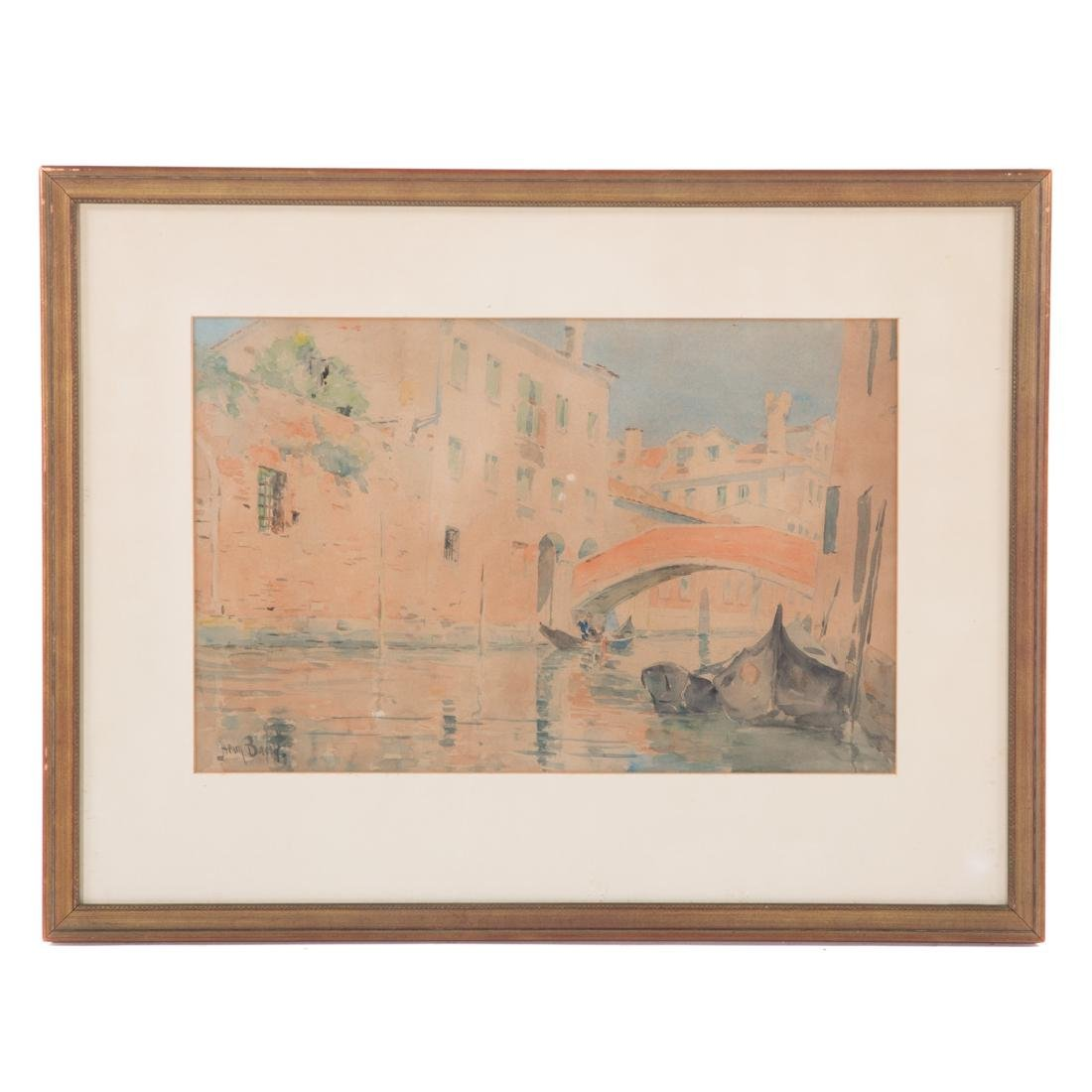 "Henry Bacon. ""An Old Bridge, Venice,"" watercolor"