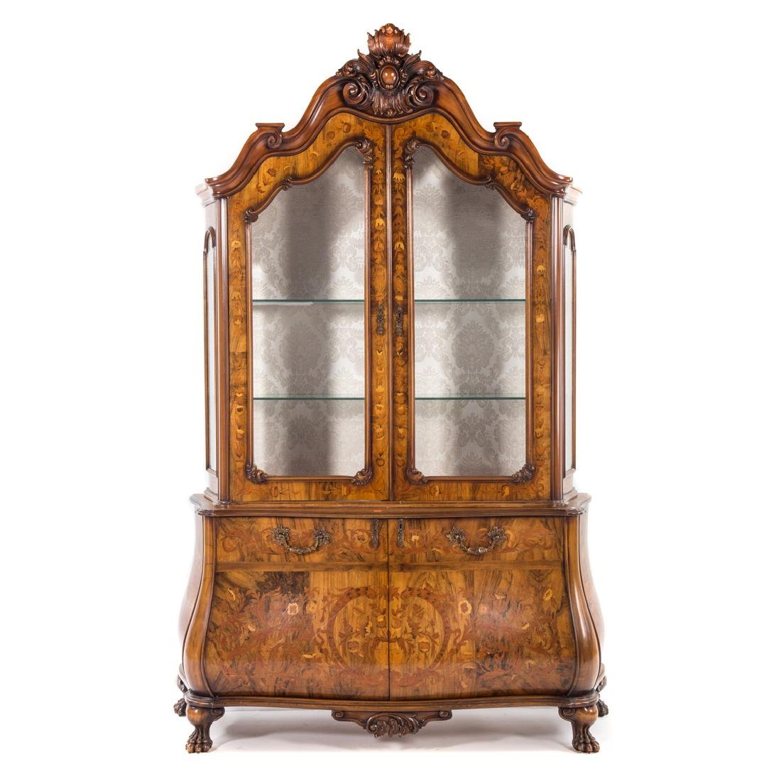 Dutch style marquetry inlaid walnut bombe cabinet,