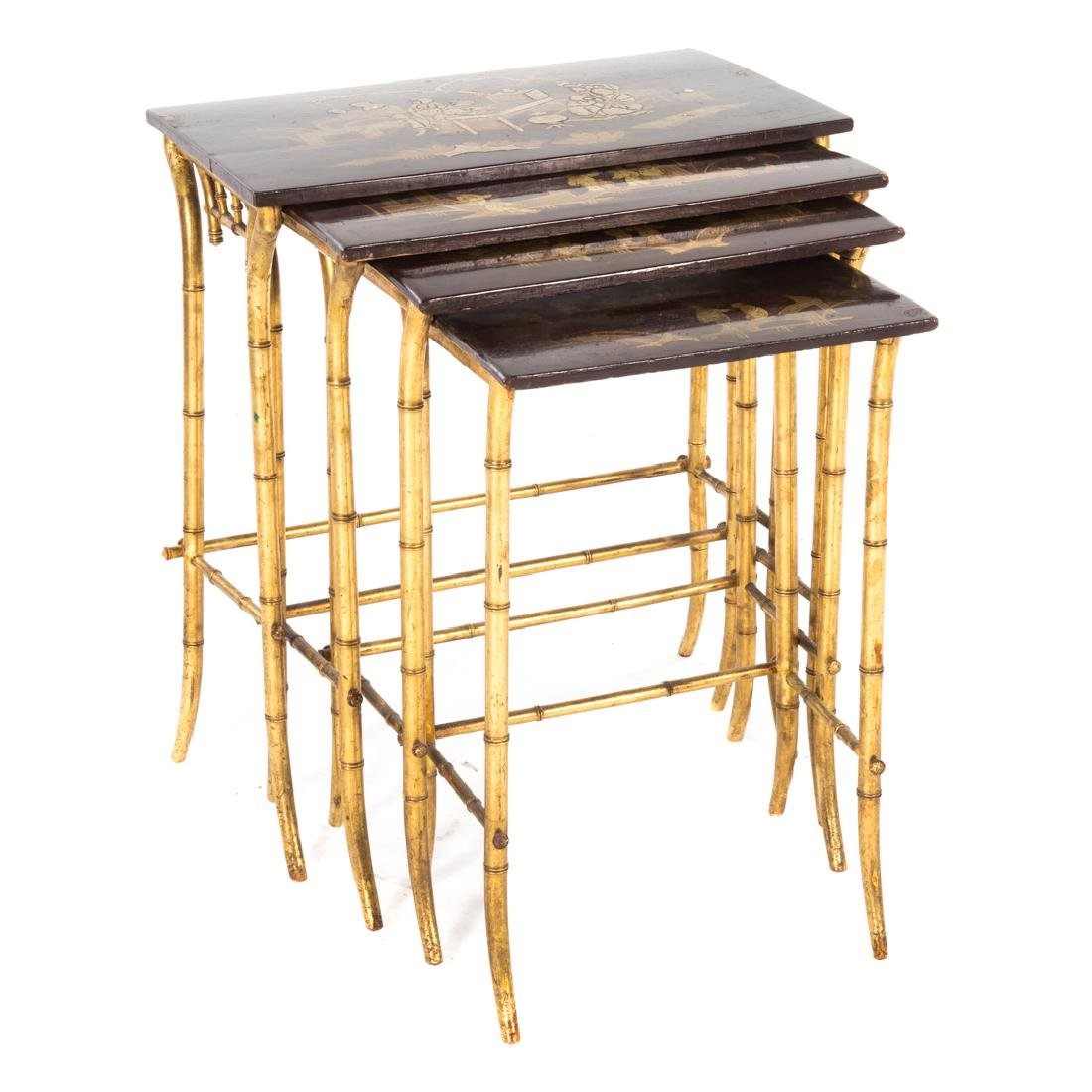 Chinese Export lacquer & gilt nesting tables,