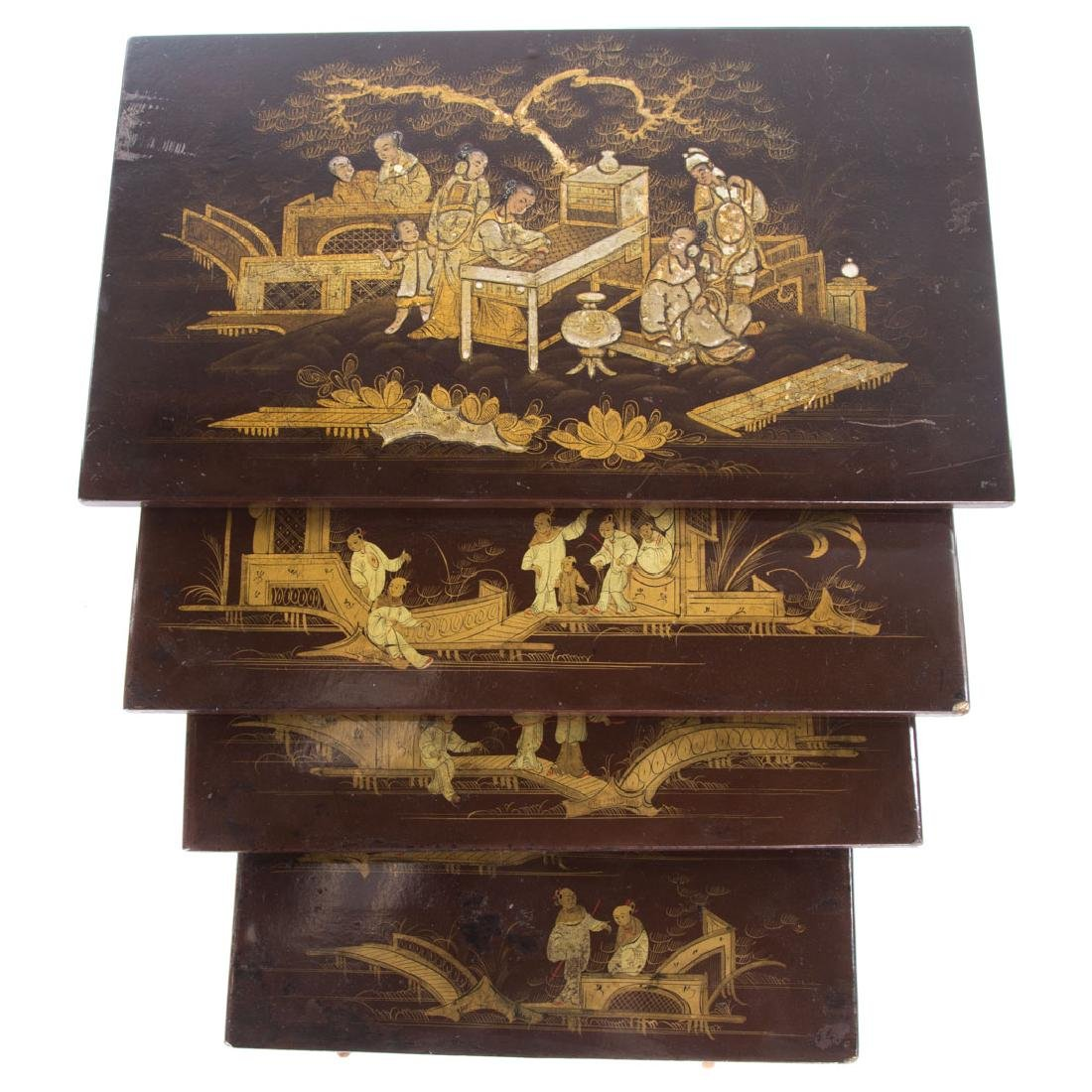 Chinese Export lacquer & gilt nesting tables, - 2