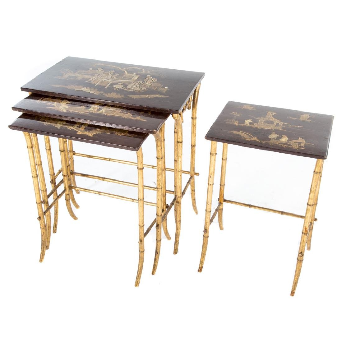 Chinese Export lacquer & gilt nesting tables, - 3