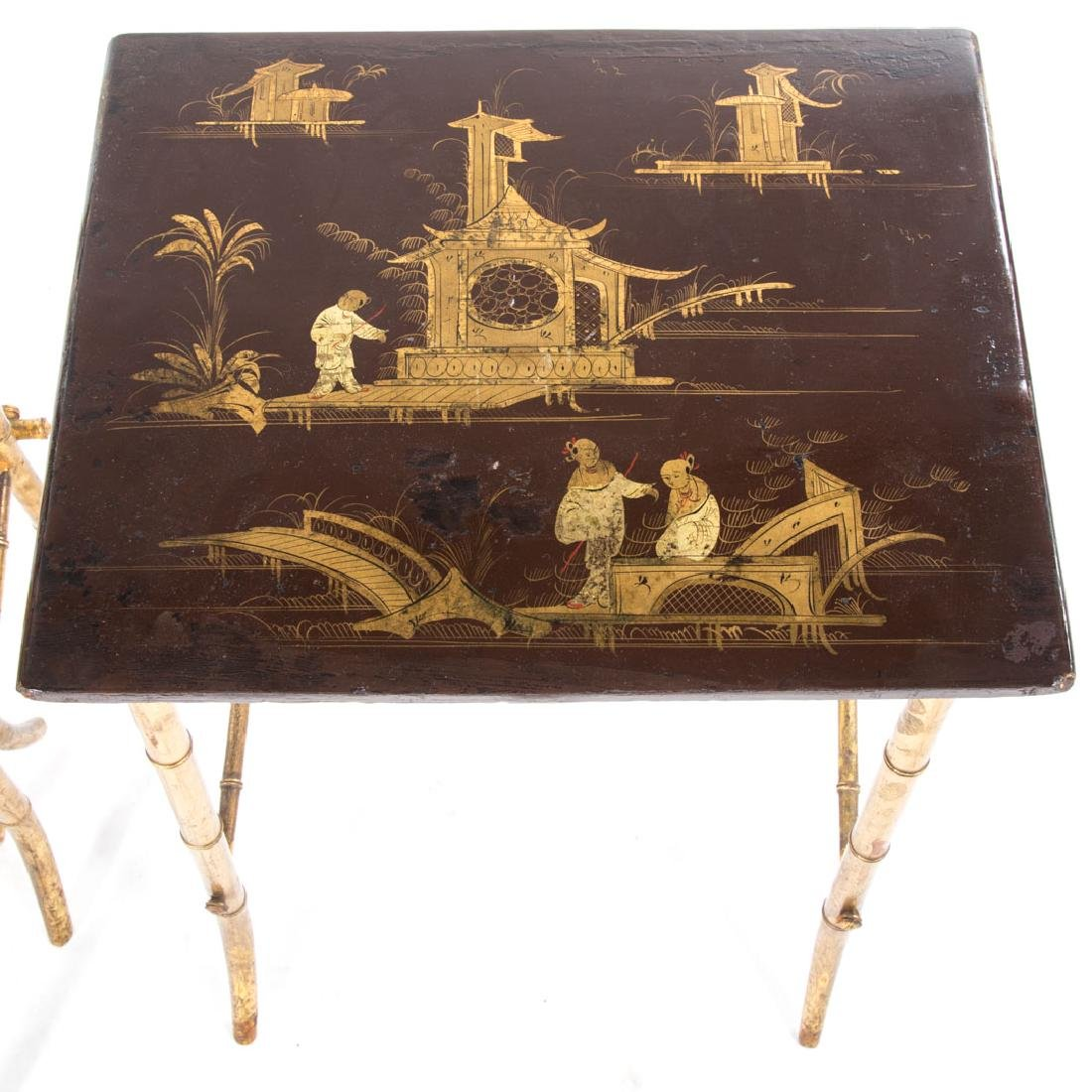 Chinese Export lacquer & gilt nesting tables, - 4