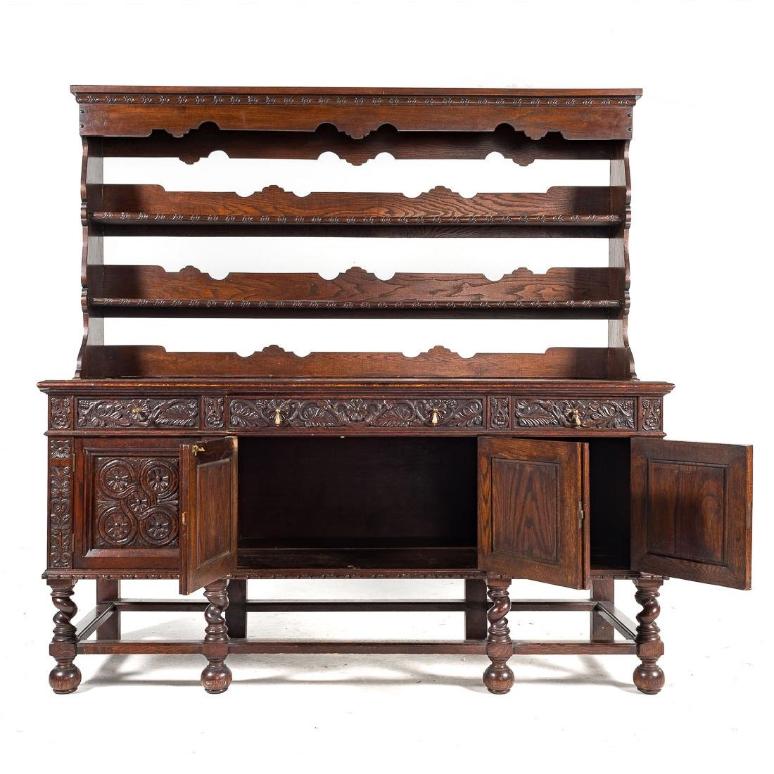 Jacobean Revival style carved oak dresser, - 3