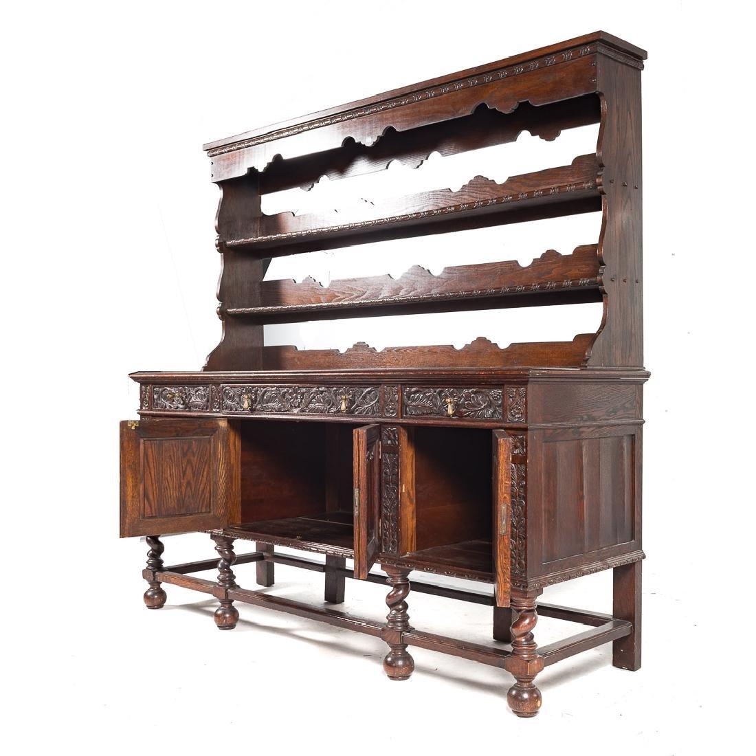 Jacobean Revival style carved oak dresser, - 4