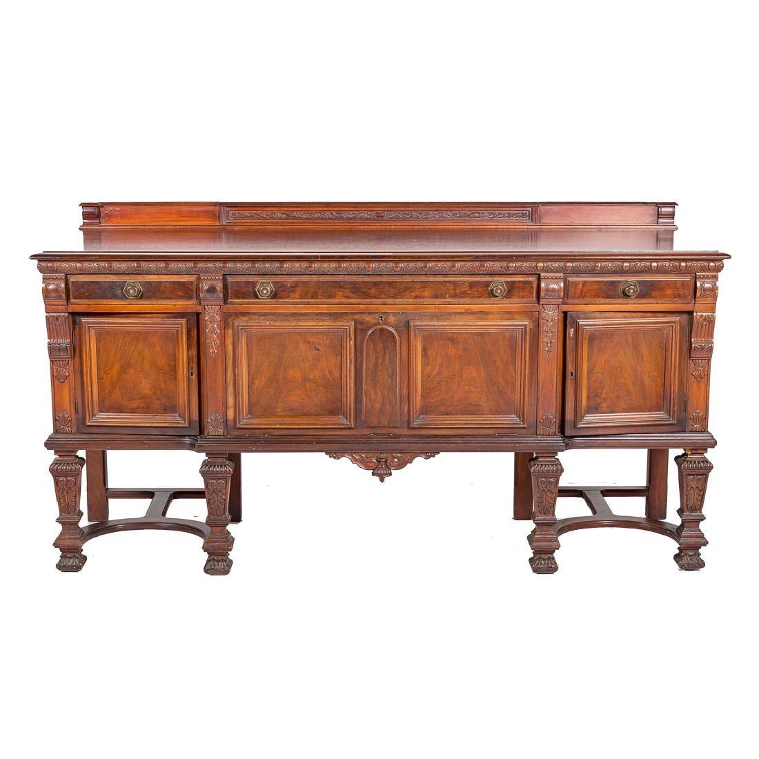 Louis XIV style walnut sideboard,