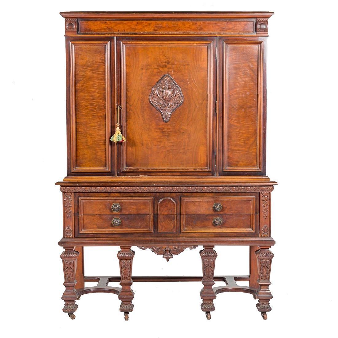 Louis XIV style walnut cabinet