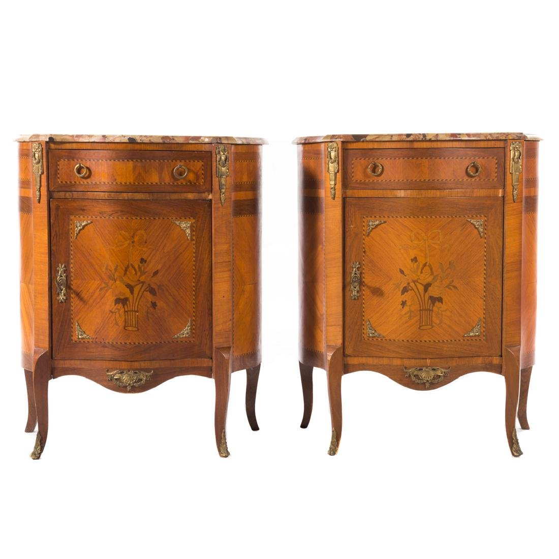 Pair Louis XV style inlaid marble top commodes,