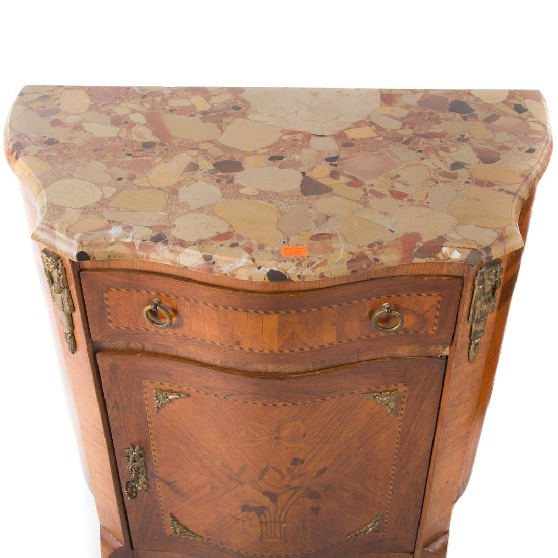 Pair Louis XV style inlaid marble top commodes, - 3