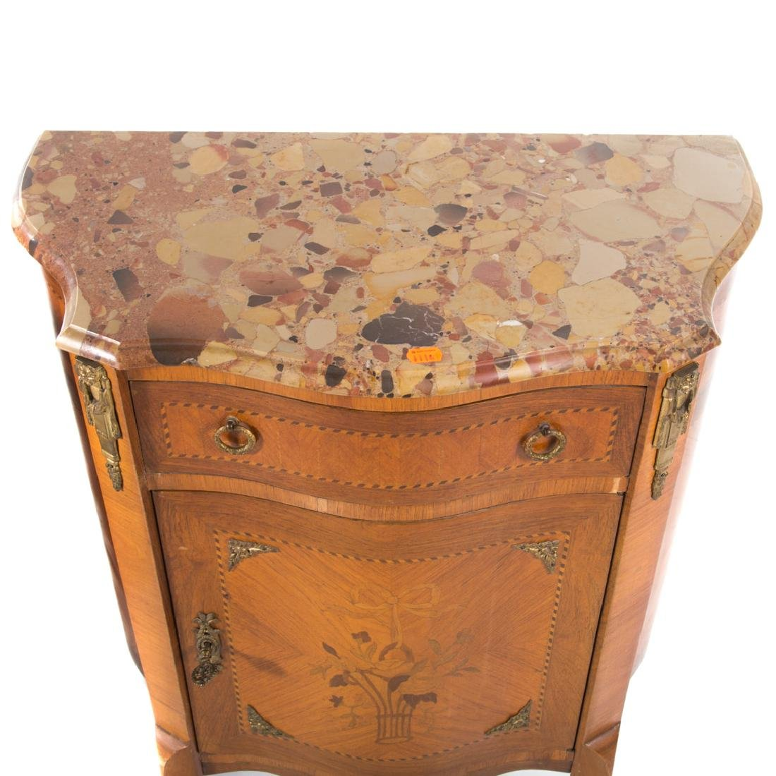 Pair Louis XV style inlaid marble top commodes, - 4