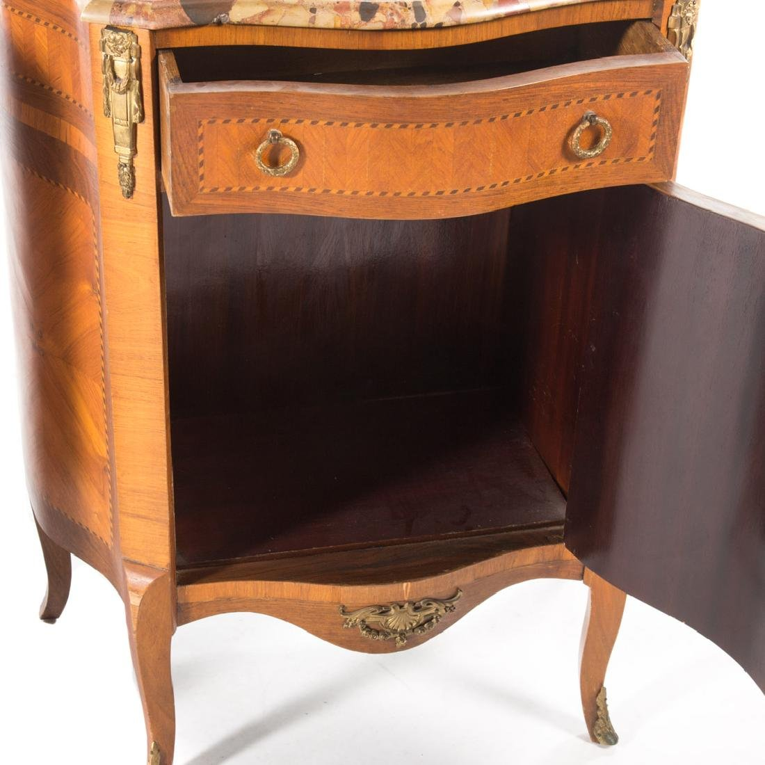 Pair Louis XV style inlaid marble top commodes, - 5