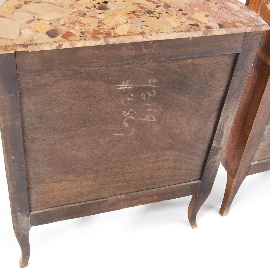 Pair Louis XV style inlaid marble top commodes, - 7