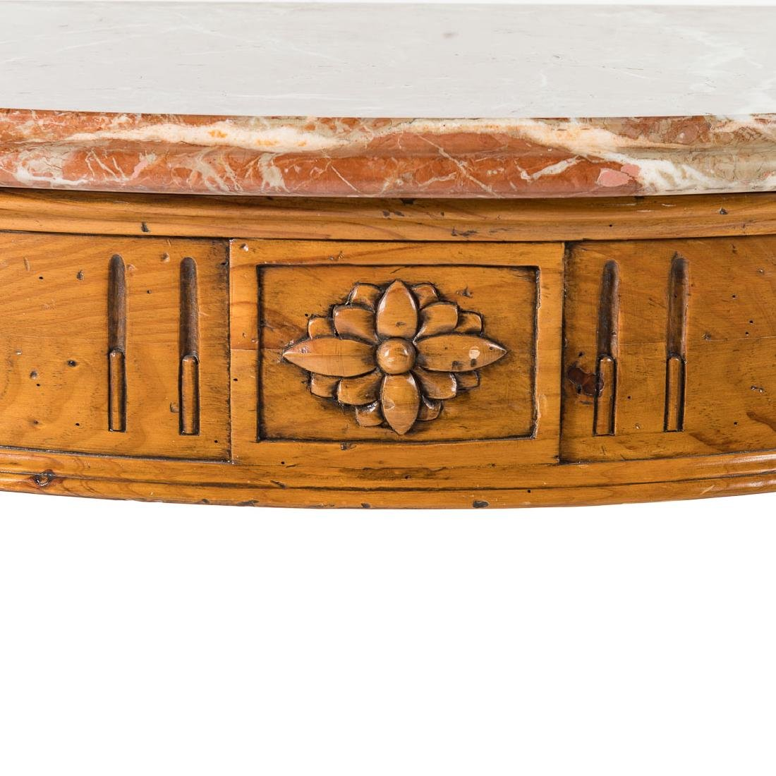 Louis XVI style pine marble top console table, - 3