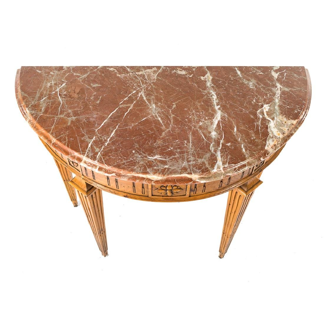 Louis XVI style pine marble top console table, - 4