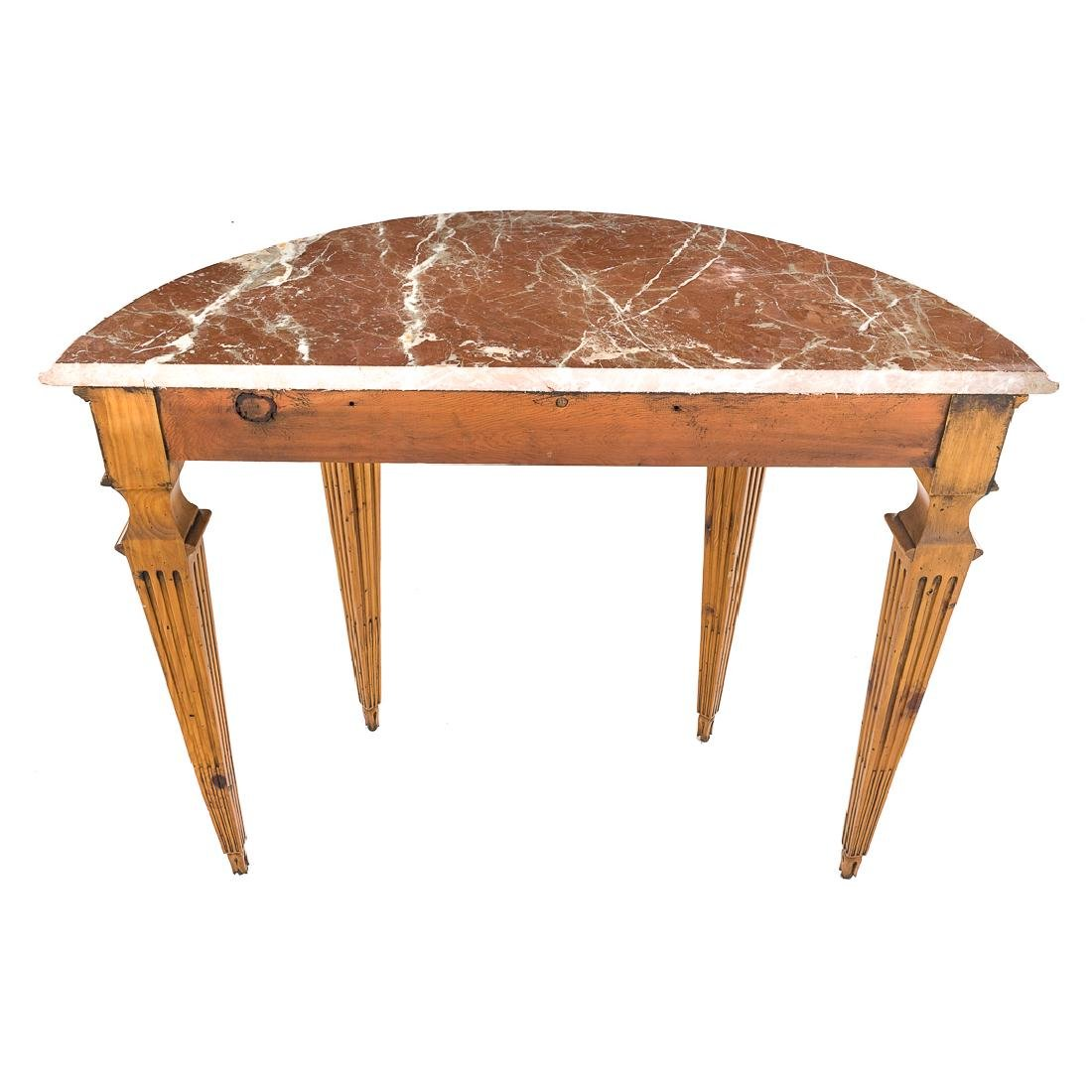Louis XVI style pine marble top console table, - 5