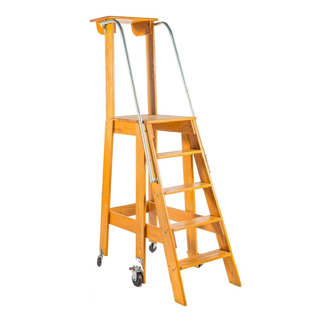 Oak rolling library ladder,