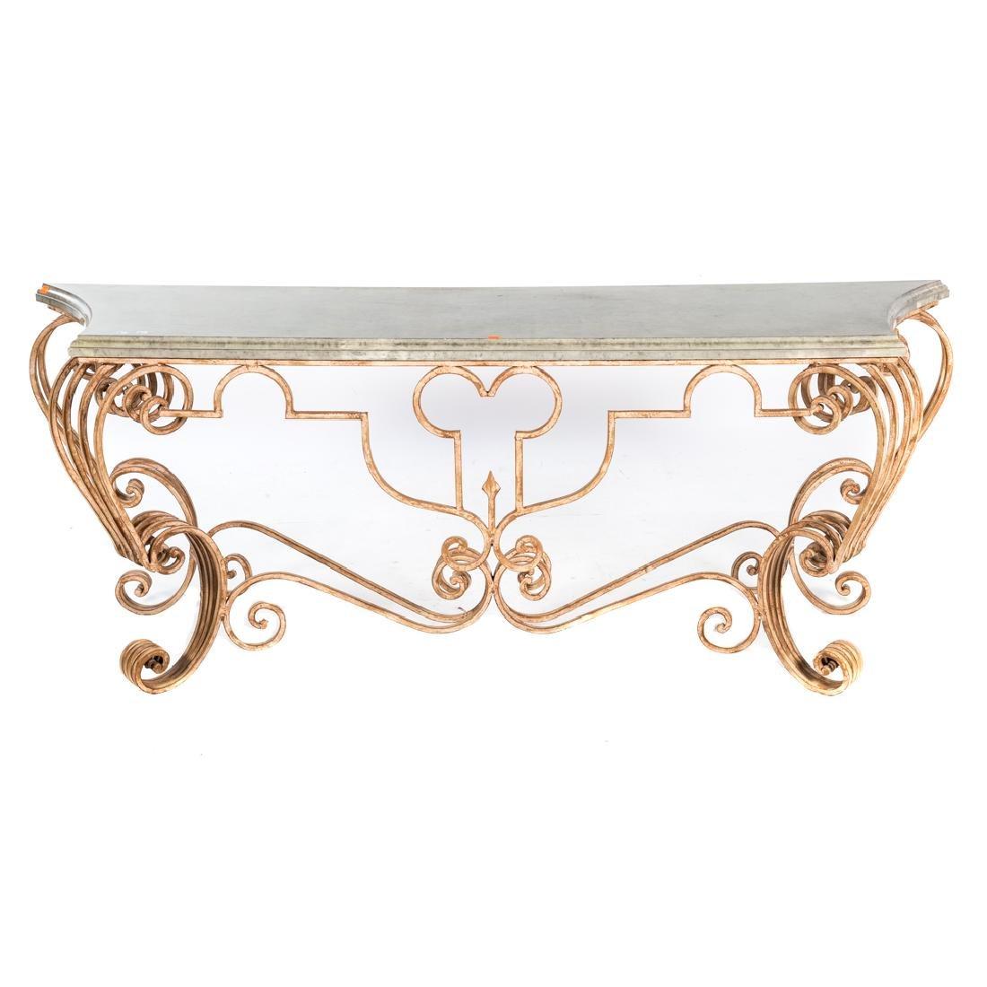 Italian Rococo style iron console table,
