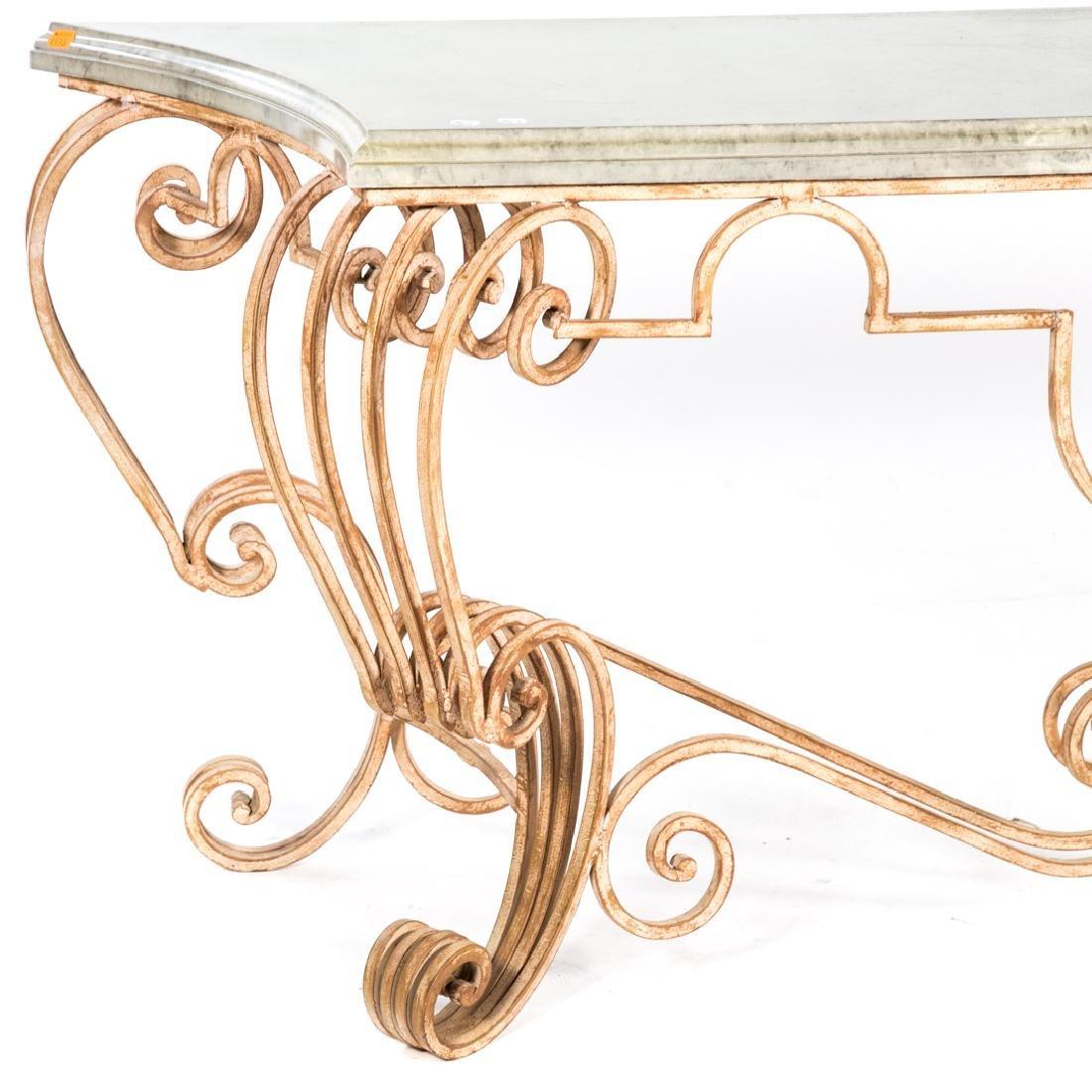 Italian Rococo style iron console table, - 2