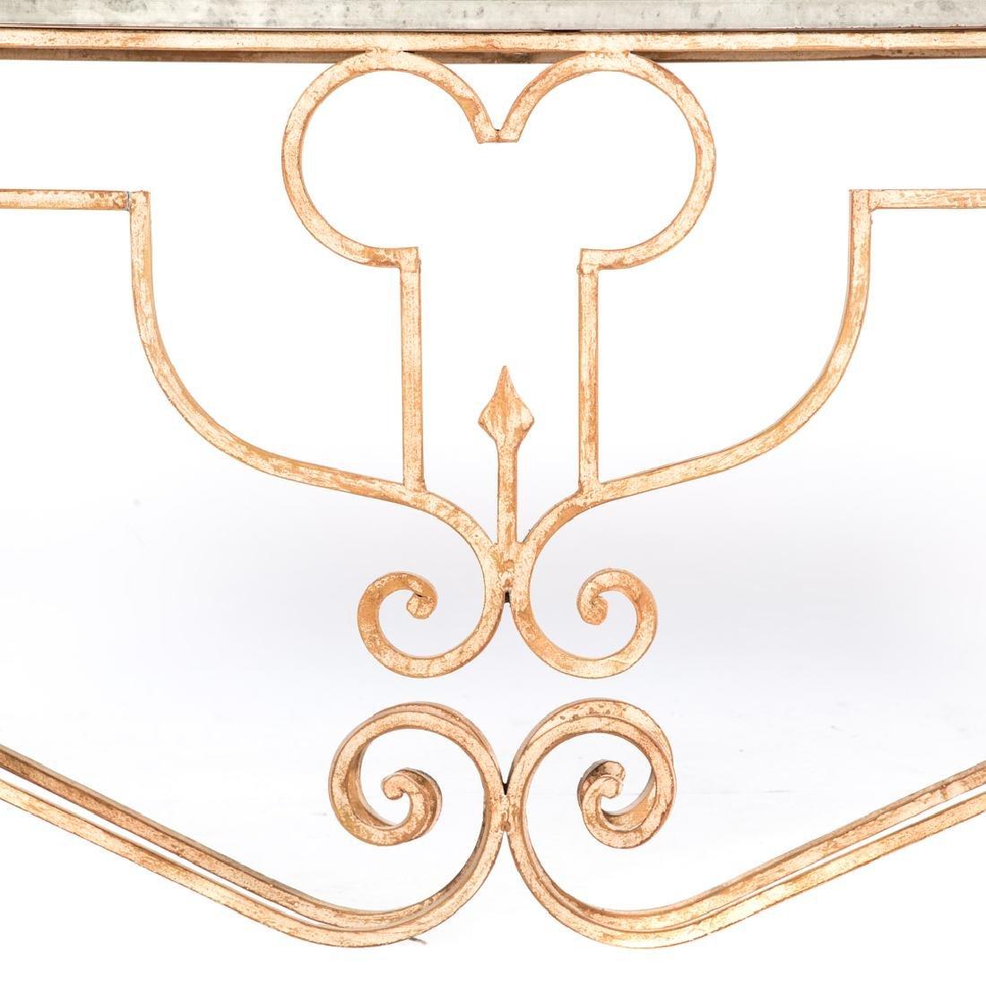 Italian Rococo style iron console table, - 3