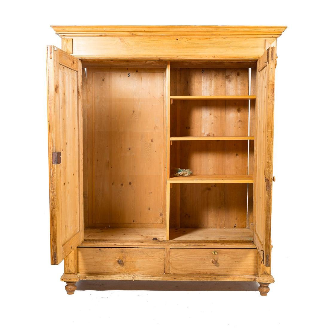 English scrubbed pine armoire, - 2