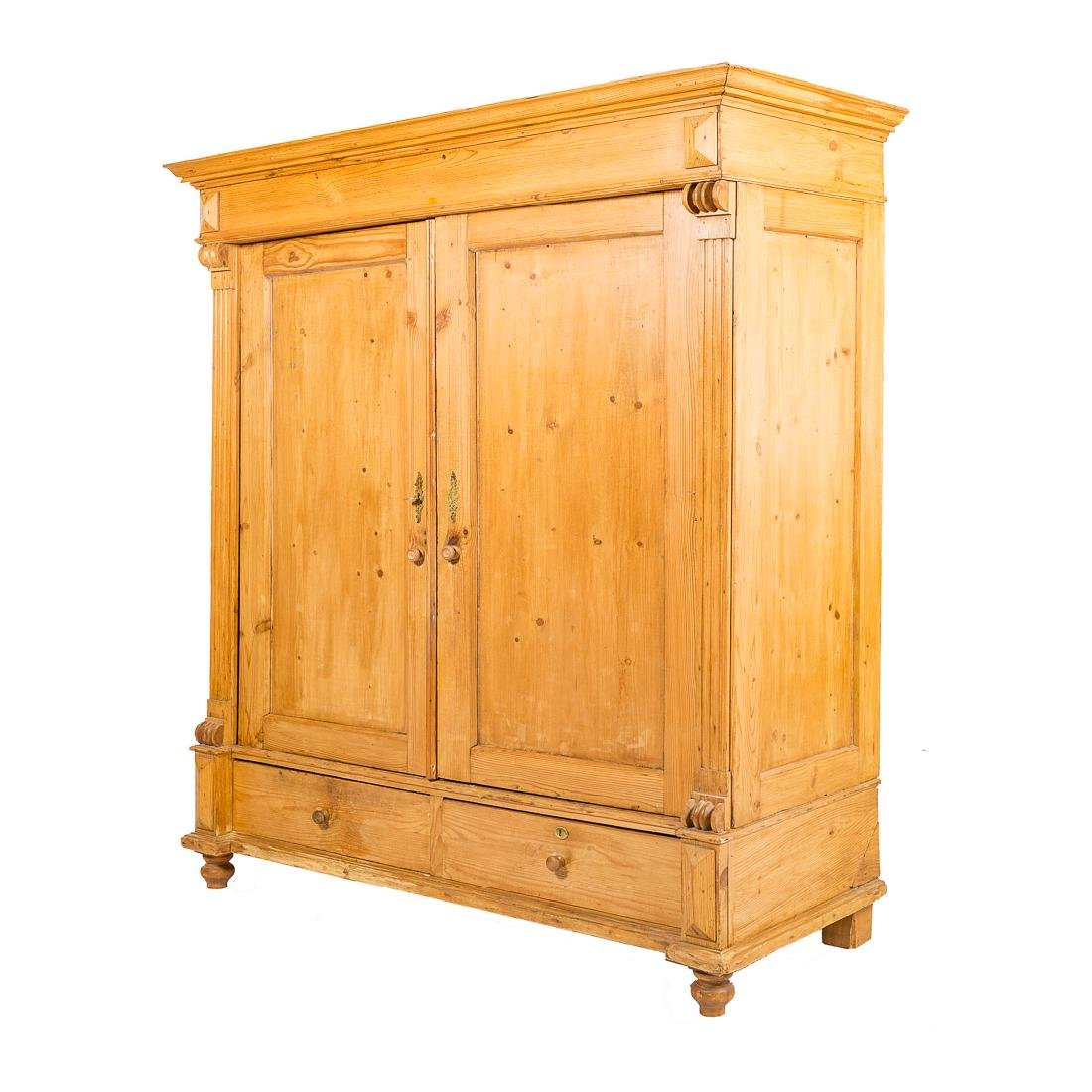 English scrubbed pine armoire, - 3