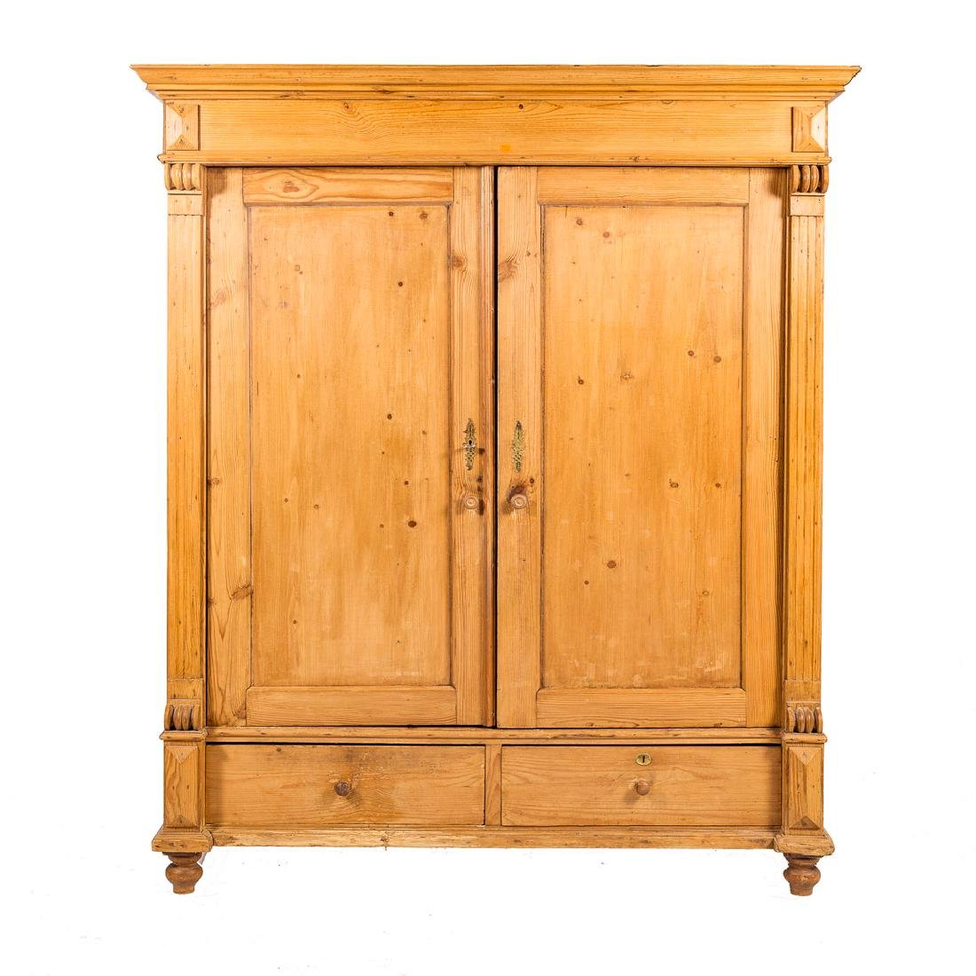 English scrubbed pine armoire, - 5