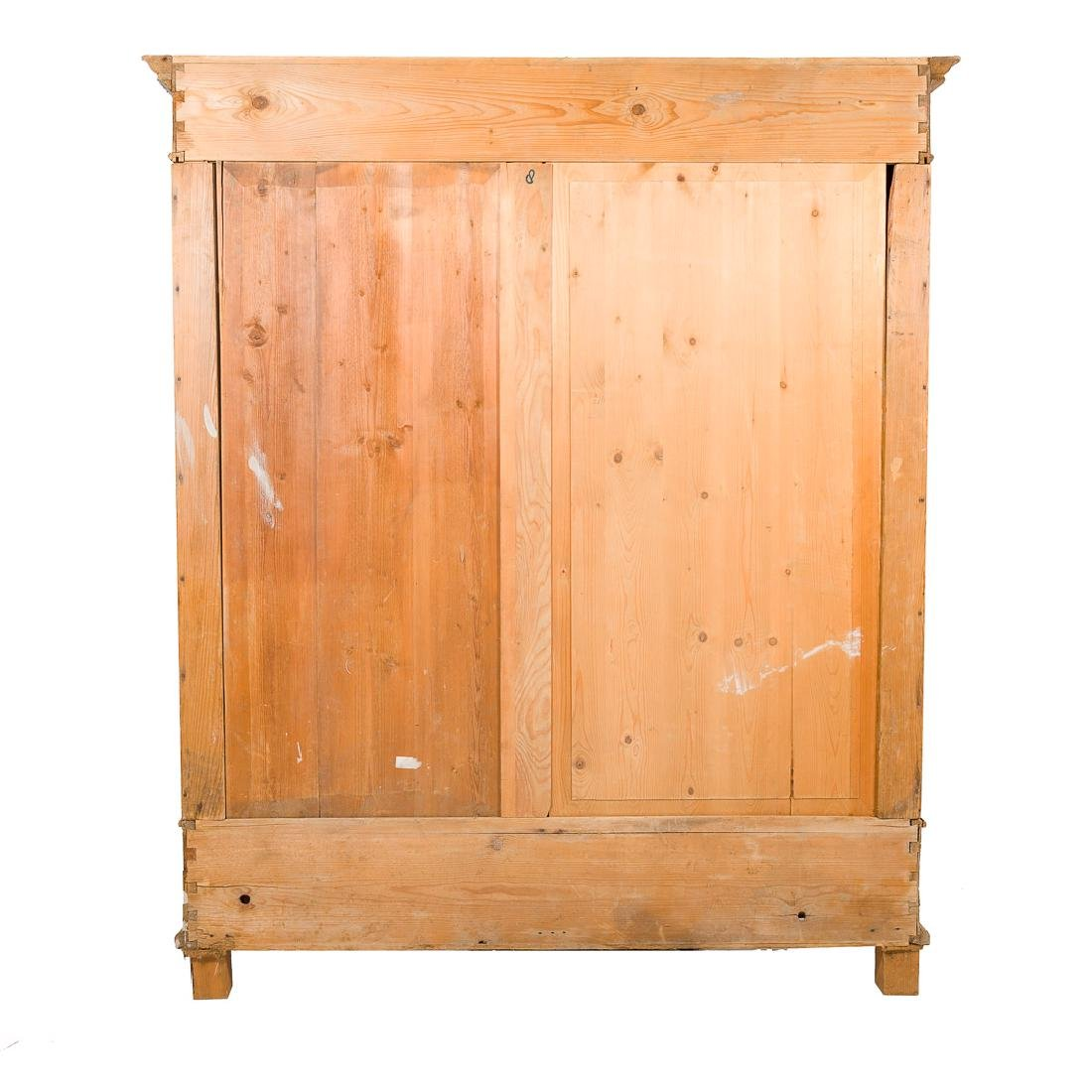 English scrubbed pine armoire, - 8
